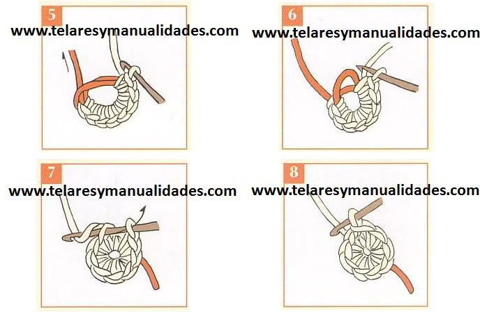 anillo mágico en crochet paso 5 al 8