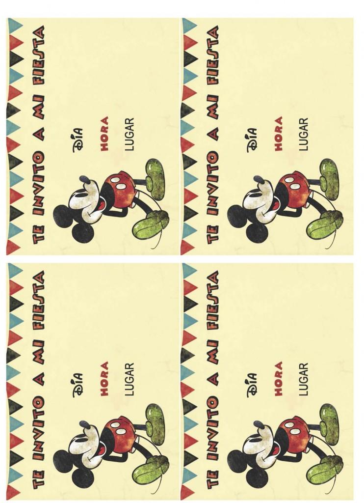 Invitaciones imprimibles Fiesta Mickey Mouse - Vintage