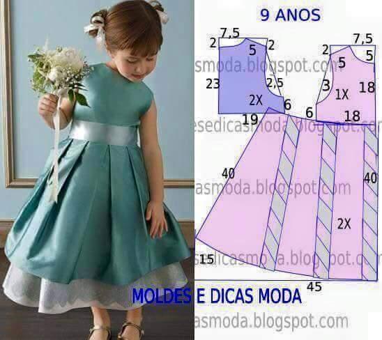 d14a4b08e Costura  21 patrones de vestidos para niña - Telares   Manualidades