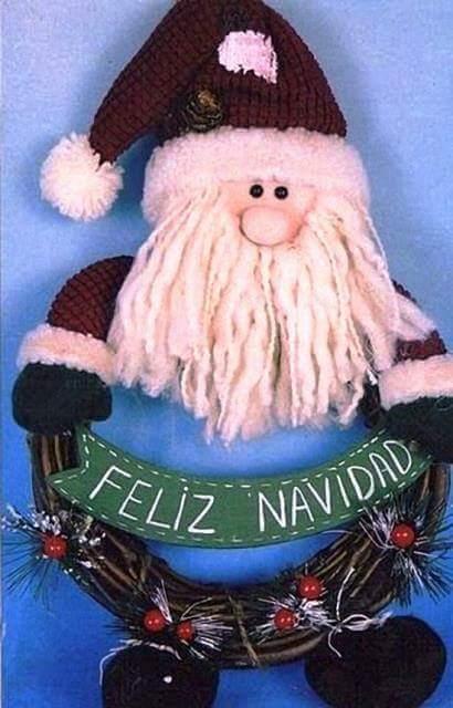 Patrón Navidad Fieltro # 1 Corona navideña Papá Noel