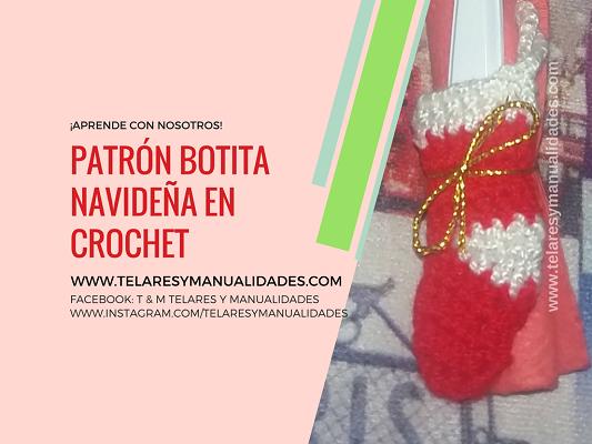 Adorno Botita Navideña en crochet - Telares & Manualidades